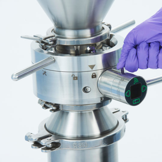 close up of an aseptic split butterfly valve technology